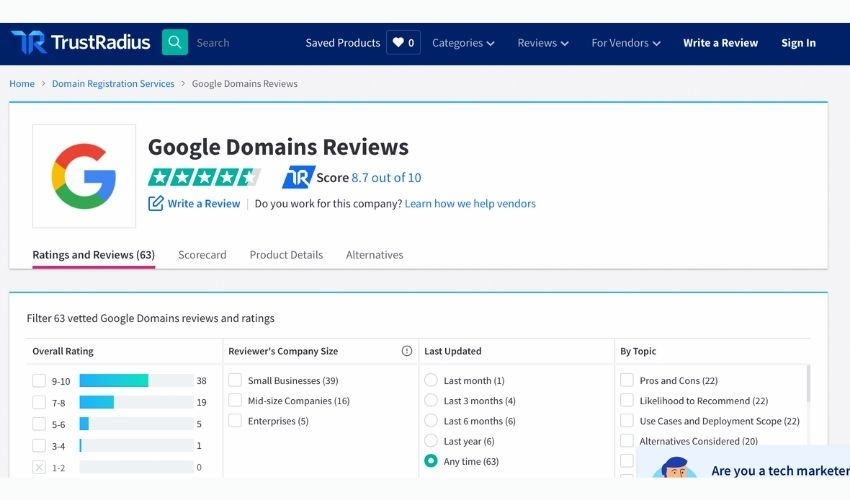 review of google domains on trustradius