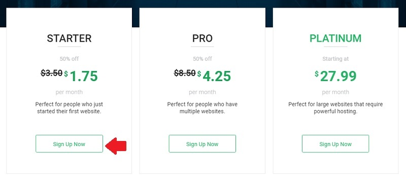 choose a stablehost hosting and choose a plan