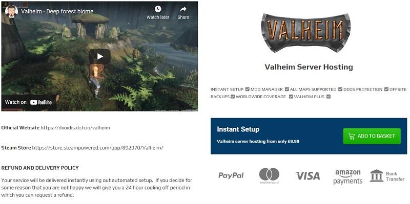 gaming deluxe valheim server hosting