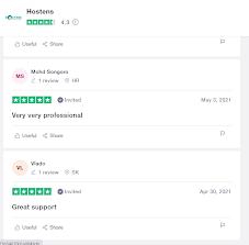 trustpilot review about Hostens