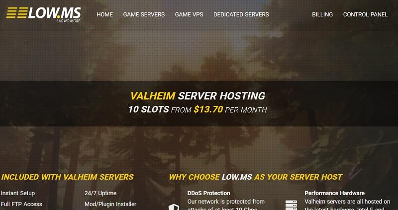 low-ms valheim server hosting