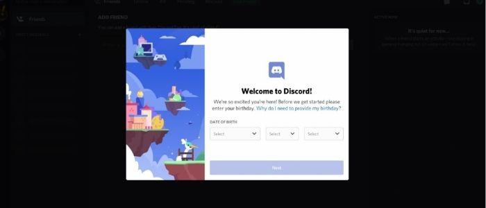 step 2 to start discord server, enter dob to start new discord account