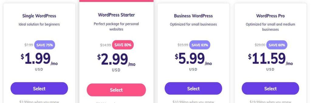 Hostinger wordpress hosting plans