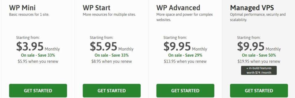 Scalahost WordPress hosting plan