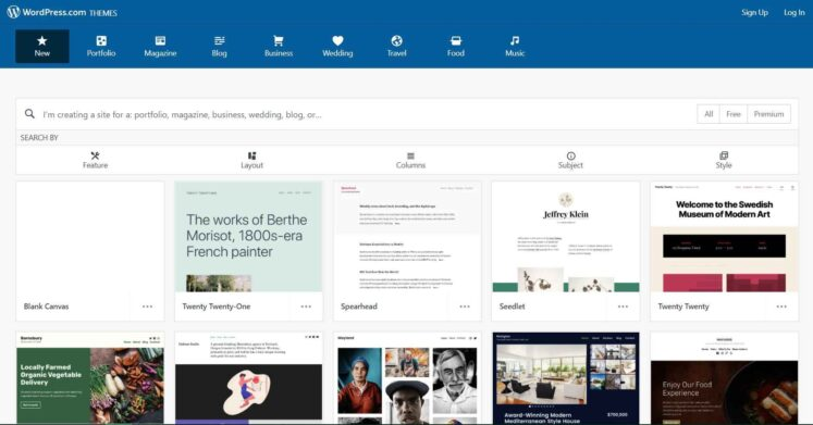 WordPress offers a variety of themes