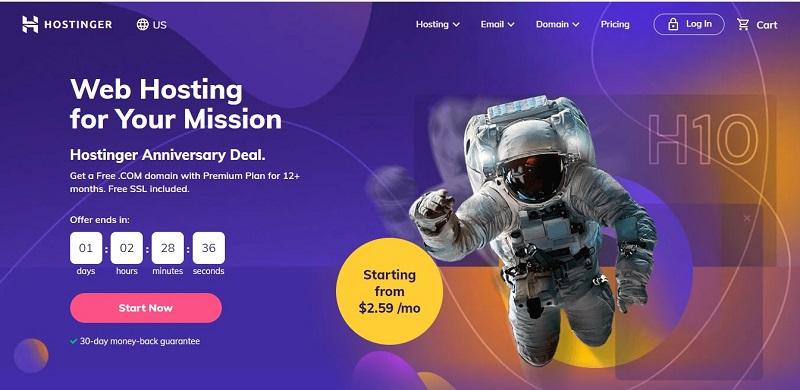 best hosting at monthly pricing by Hostinger