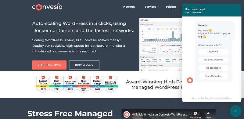 customer support of convesio wordpress hosting