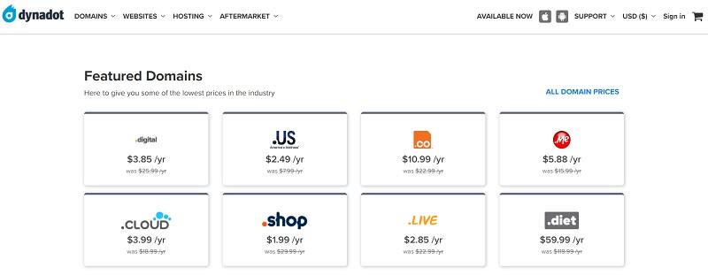 Dynadot domain pricing