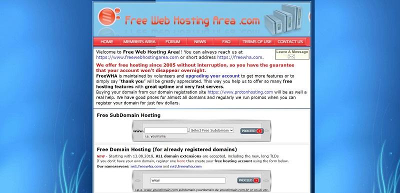freewebhostingarea offers web hosting for database, mysql and maria