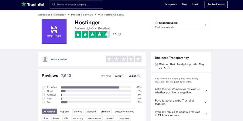 Hostinger customer review