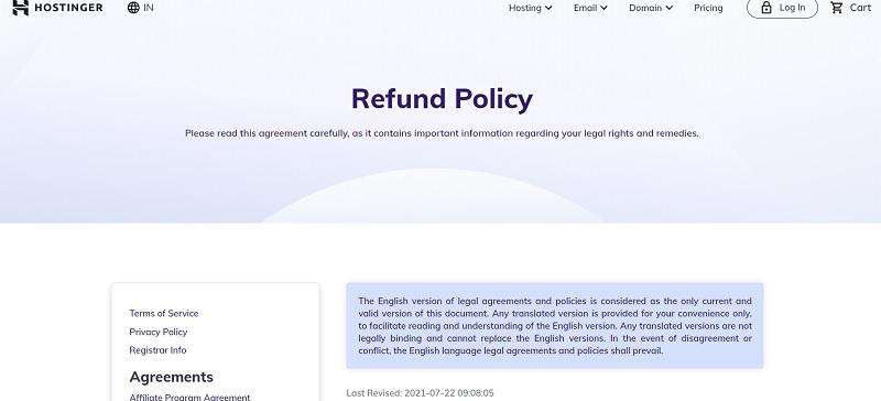 hostinger refund policy