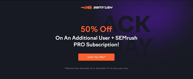 semrush black friday discount on additional user