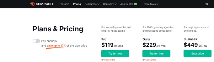 Semrush pricing for monthly bills