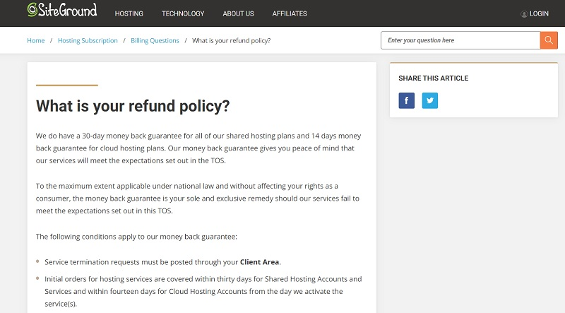 Siteground moneyback policy