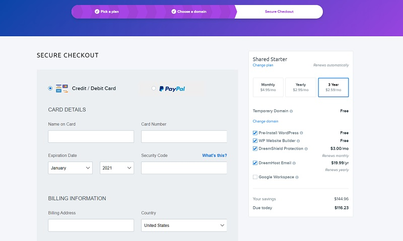DreamHost billing and payments