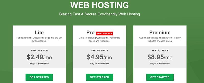 GreenGeeks web hosting pricing