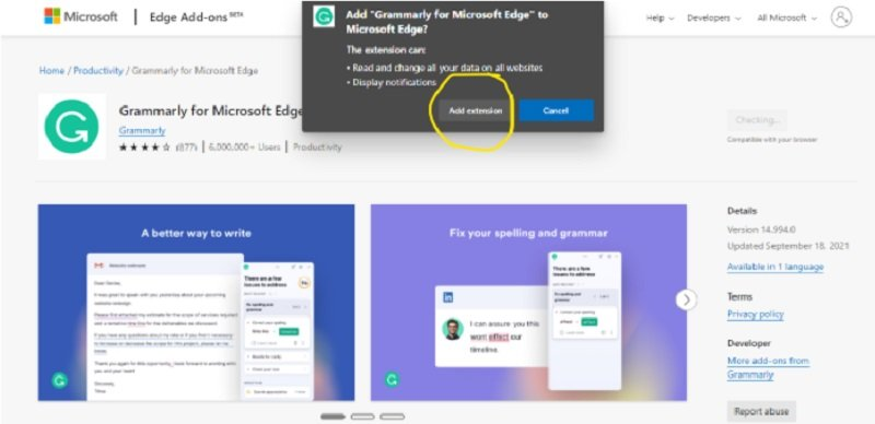 add grammarly extension to browser