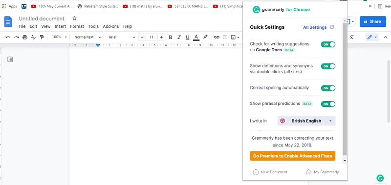 grammarly quick setting for free grammar checker